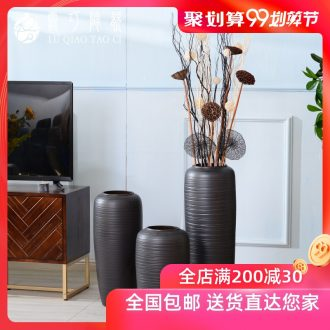 Black ceramic big vase Nordic contracted ins dried flowers decorative furnishing articles individuality creative light luxury ground wind flowers