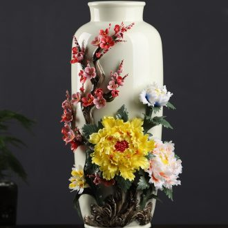 Oriental soil new Chinese style ceramic vase furnishing articles sitting room flower arrangement China TV ark rich ancient frame home decoration