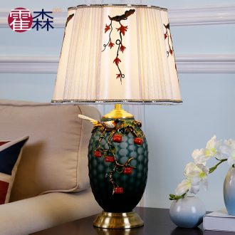 Colored enamel lamp study of new Chinese style bedroom berth lamp retro creative decorative ceramic led all copper lamps and lanterns