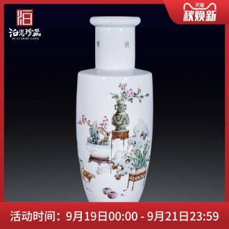Master of jingdezhen ceramics hand-painted famille rose flower vase sitting room furniture collection of new Chinese style furnishing articles fall to the ground