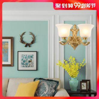 European-style full copper lamp ceramic wall lamp American bedroom berth lamp sitting room TV setting wall lamp lens headlight lamps and lanterns