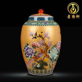 Jingdezhen ceramics handicraft big vase European household multi-functional storage tank barrel furnishing articles ornament