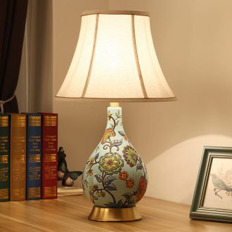 Bedroom berth lamp sitting room new Chinese classical European American pastoral hand-painted ceramic powder enamel full copper lamp