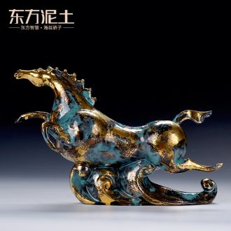 Oriental clay ceramic artisans Zhang Chang teacher Lin works bronze horse furnishing articles/treader tianma color series
