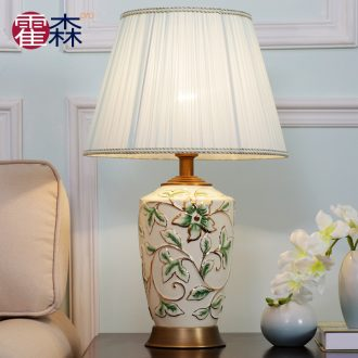 American rural contracted ceramic lamp of the head of a bed lamp all copper study bedroom, sitting room fashion warm decoration lamp