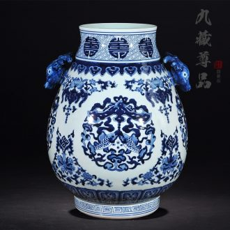 Nine Tibetan Buddha tasted jingdezhen ceramic antique hand-painted sweet deer ear of blue and white porcelain statue of the sitting room place cylinder vase