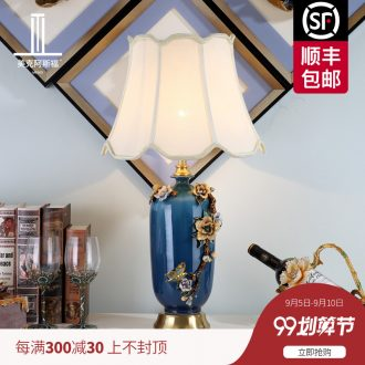 American new Chinese style full copper lamp light colored enamel porcelain sitting room lamps and lanterns of study of luxury european-style lamp of bedroom the head of a bed