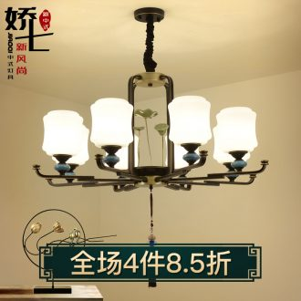 New Chinese style droplight sitting room lamps and lanterns of atmospheric zen lamp ceramic glass, wrought iron contracted and contemporary Chinese style villa