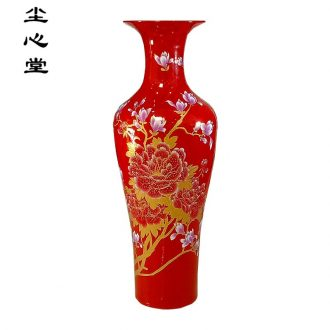 Black peony dark red dust heart big hall jingdezhen ceramics vase 1 m to 2 m new company opening a sitting room be born