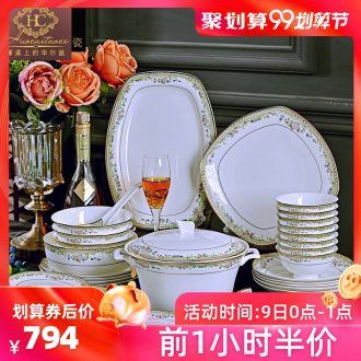 Fire color ou bone jingdezhen porcelain tableware suit household of Chinese style of high-grade ceramic bowl plate combination of a complete set of packages