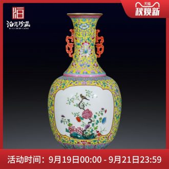 Jingdezhen ceramics powder enamel household adornment flower vase Chinese style living room rich ancient frame collection furnishing articles