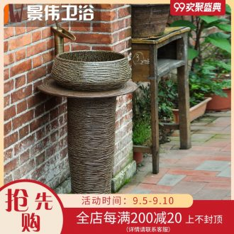 JingWei column basin sink balcony lavatory basin one toilet stage basin sink art ceramic column