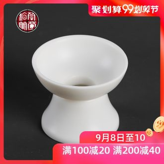 Chrysanthemum patterns dehua high-white manual suet jade fittings tea strainer screen tea tea filter ceramic household