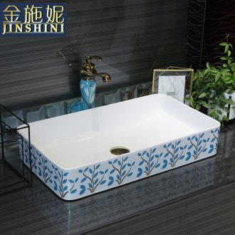 Gold cellnique stage basin sink household balcony contracted rectangle face basin ceramic toilet basin