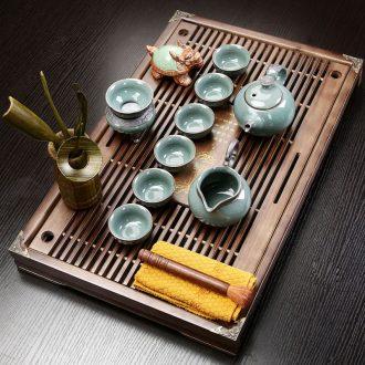 Qin Yi ceramic purple white porcelain kung fu tea set suit household solid wood tea tray tea sets tea ceremony of a complete set of large drainage