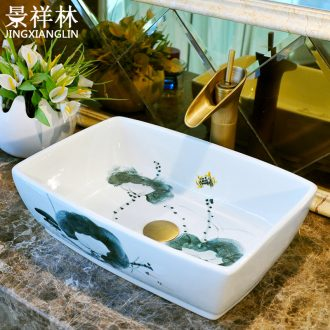Package mail european-style rectangle jingdezhen art basin lavatory sink the stage basin & ndash; Hand painted lotus