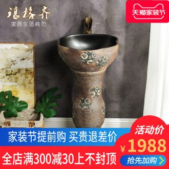 Post, qi Chinese balcony one-piece toilet ceramic basin basin sinks vertical restoring ancient ways is the sink