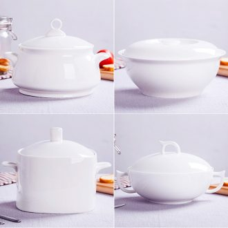 Bone China jingdezhen ceramic white ribbon soup pot cover large household pot soup basin healthy environmental protection