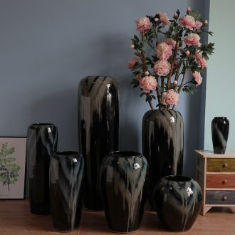 Contemporary and contracted hotel lobby floor black ceramic vase furnishing articles power pottery flower arranging, villa example room