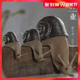 Auspicious household adornment industry creative tea pet furnishing articles snail ceramics lovely tea tea tray accessories small animals