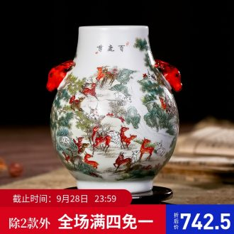 Jingdezhen ceramics imitation retro nostalgia art flower arranging large vase office sitting room handmade works of art