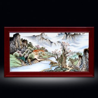 Chinese lucky feng shui living room sofa setting wall adornment jingdezhen hand-painted porcelain plate painting landscapes of corridor murals