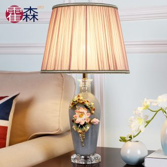 New Chinese style ceramic desk lamp bedroom berth lamp classical colored enamel warm sitting room study warm light sweet chandeliers