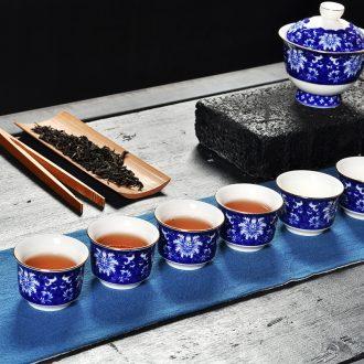 Tang aggregates hand-painted ceramic tea set household enamel teapot jingdezhen blue and white porcelain cups make tea bowl