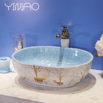 Northern European art square stage basin lavatory toilet lavabo ceramic wash gargle contracted household basin