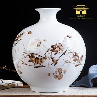 Contracted and contemporary jingdezhen ceramics hand-painted shrimp boring vase home wine cabinet office sitting room adornment is placed