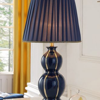Nordic light blue romance luxury new American ceramic desk lamp sitting room large creative contracted and contemporary bedroom berth lamp