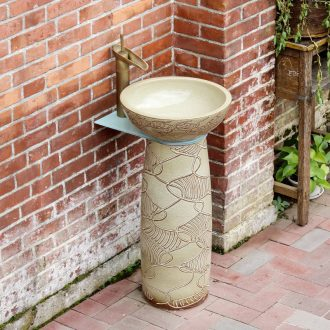 Pillar type lavatory ceramic bathroom outdoor balcony ground basin integrated industrial wind basin of wash one vertical column