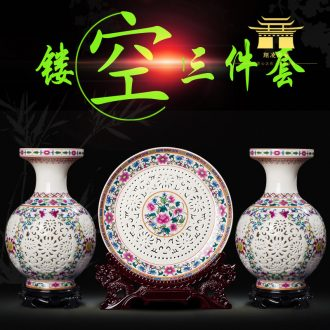 Jingdezhen ceramics hollow-out of blue and white porcelain vase three-piece sitting room of home decoration wine rich ancient frame furnishing articles