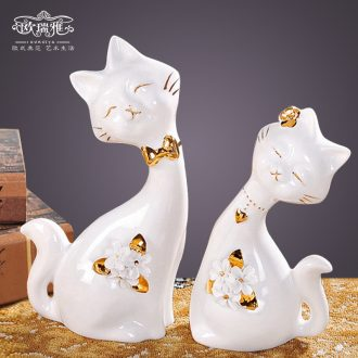 Wedding gift cute couple of cats creative household ceramics, bedroom adornment animal furnishing articles fashion