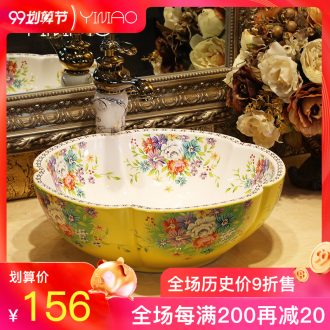 Million birds art stage basin European ceramic lavatory petals basin basin on the sink