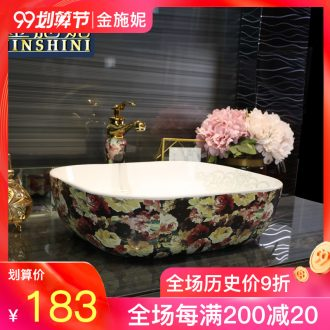 Gold cellnique stage basin rectangle ceramic art basin of Europe type lavatory fashion the basin that wash a face painting rose