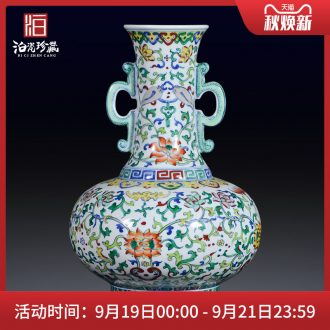 Jingdezhen ceramic imitation qing yongzheng color bucket ears flower vase porch decoration of Chinese style household furnishing articles