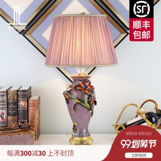The American colored enamel lamp sitting room lamps and lanterns of bedroom the head of a bed luxury villa high-grade atmosphere originality ceramic lamp