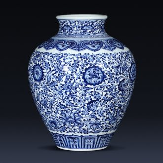 Imitation of qianlong hand-painted porcelain of jingdezhen ceramics branch lotus bottle creative Chinese penjing collection gift
