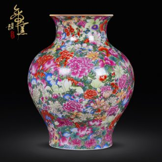 Archaize of jingdezhen ceramics craft vase collection furnishing articles qianlong high-grade colored enamel paint flower vase