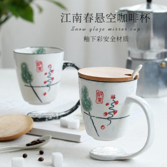 Ceramic cup home lovely office drink cup contracted lovers mugs Nordic spoon coffee cup with cover
