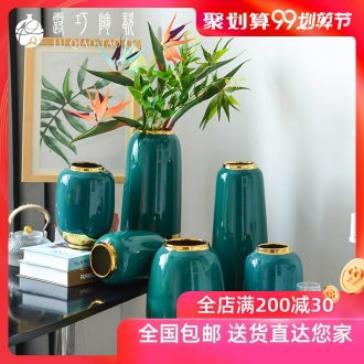 Lou qiao ou household ceramic vase simulation flower arranging place new Chinese style living room TV cabinet accessories porch decoration