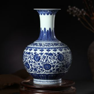 Jingdezhen ceramics yongzheng model of archaize home furnishing articles study design blue and white porcelain vase antique collection