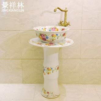 Household one-piece pillar lavabo toilet bowl column type lavatory floor balcony ceramic sinks