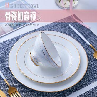 Jingdezhen phnom penh Chinese tall rice bowls bone porcelain household ceramic creative porringer ruyi bowl bowl rainbow noodle bowl