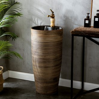 Simple hotel bathroom pillar lavabo ceramic lavatory basin one simple small floor type restoring ancient ways