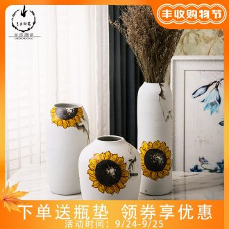 Modern European contracted sitting room decoration dried flower vase planting household adornment of jingdezhen ceramic vases, small ornament