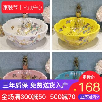 Basin petals European art ceramics on the sink basin bathroom sinks counters are contracted household