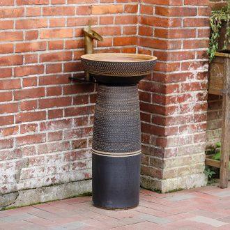 Basin sink ceramic column pillar floor type lavatory industrial integrated wind art basin to outdoor column on stage