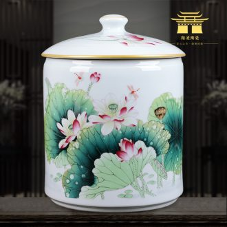 Jingdezhen ceramics famous hand-painted porcelain enamel vase lotus home sitting room adornment is placed caddy
